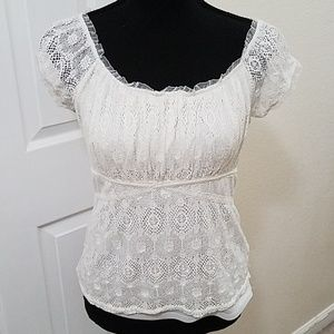 White Lacy Puff Sleeve Top